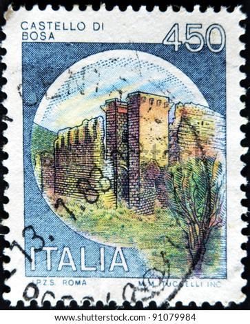 ITALY - CIRCA 1980: A stamp printed in Italy,  shows Castles Bosa, Italian series of castles , circa 1980 - stock photo