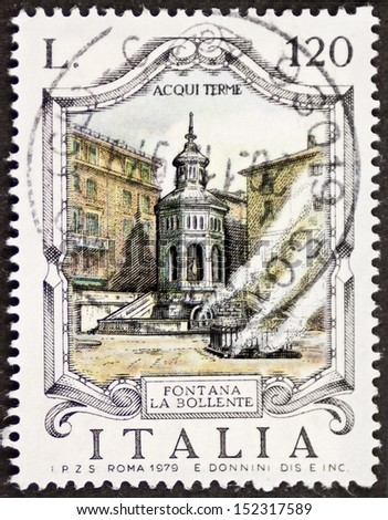 ITALY - CIRCA 1979: a stamp printed in Italy shows Fontana La Bollente (Hot Water Fountain), built in the 19th century in Acqui Terme. Italy, circa 1979