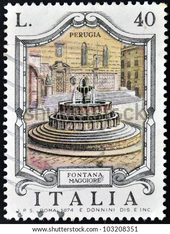 ITALY - CIRCA 1974: A stamp printed in Italy shows Fontana Maggiore, Perugia, circa 1974 - stock photo