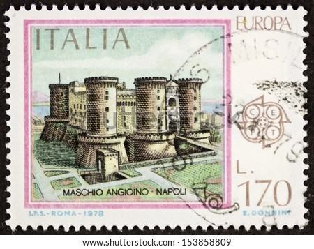 ITALY �¢?? CIRCA 1978: a stamp printed in Italy shows illustration of Maschio Angioino castle, medieval edifice in Naples, southern Italy. Italy, circa 1978 - stock photo