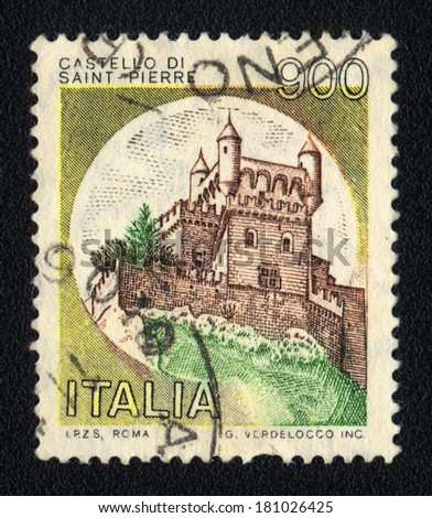 ITALY - CIRCA 1981: A stamp printed in Italy shows image Castle Saint-Pierre, circa 1981
