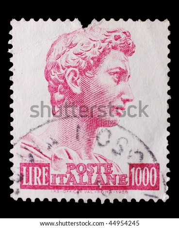ITALY - CIRCA 1956: A stamp printed in Italy shows image of a man's head, circa 1956
