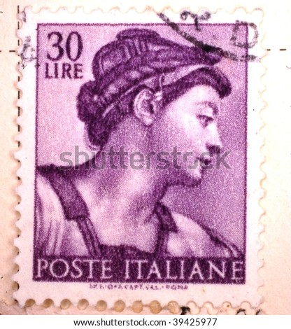 ITALY - CIRCA 1955: A stamp printed in Italy shows image of a woman's head and neck from the side, series, circa 1955