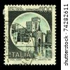 ITALY - CIRCA 1990:A stamp printed in ITALY shows image of the Sirmione is a comune in the province of Brescia, in Lombardy (northern Italy), circa 1990. - stock photo