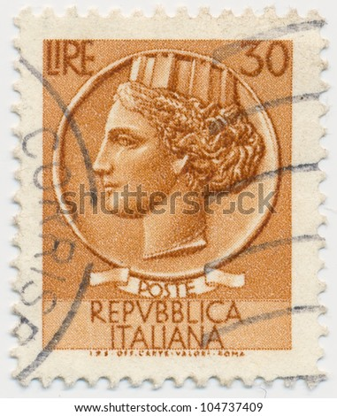 ITALY - CIRCA 1968: A stamp printed in Italy, shows Italia Turrita, circa 1968