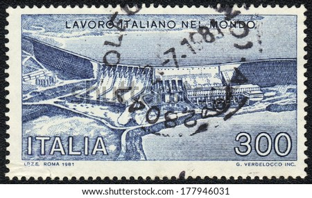 ITALY - CIRCA 1981: A stamp printed in Italy shows Italian labour in the World, circa 1981 - stock photo