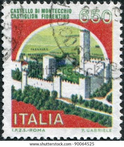 ITALY - CIRCA 1986: A stamp printed in Italy, shows Montecchio Castle, Castiglion Fiorentino, circa 1986 - stock photo