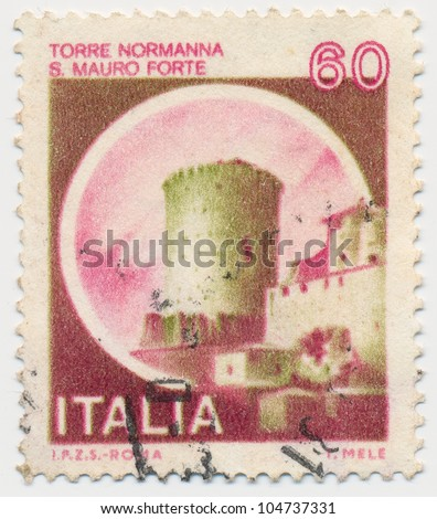 ITALY - CIRCA 1980: A stamp printed in Italy, shows Norman Tower, St. Mauro Fort, circa 1980 - stock photo