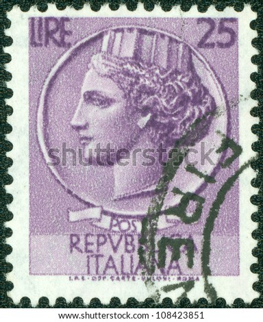 ITALY - CIRCA 1973: A stamp printed in Italy shows Queen's Head, circa 1973