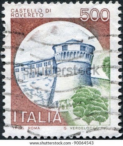 ITALY - CIRCA 1980: A stamp printed in Italy, shows Rovereto Castle, circa 1980 - stock photo