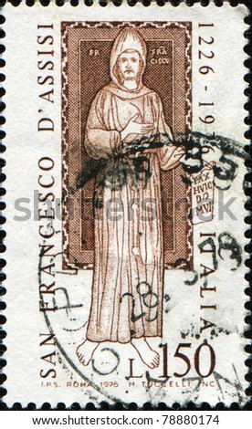 ITALY - CIRCA 1976: A stamp printed in Italy shows San Francesco, circa 1976