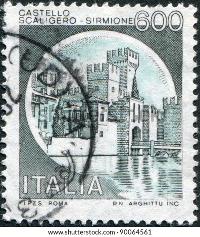 ITALY - CIRCA 1980: A stamp printed in Italy, shows Scaligero Castle, Sirmione, circa 1980 - stock photo