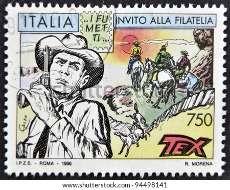 ITALY - CIRCA 1996: A stamp printed in Italy shows Tex Willer, circa 1996