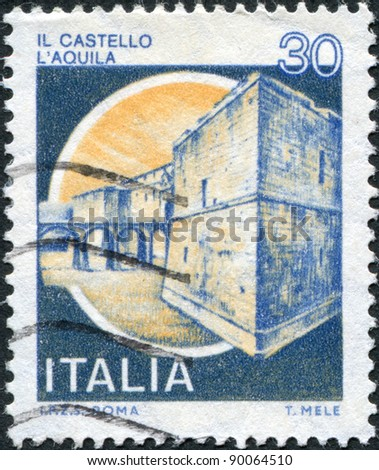 ITALY - CIRCA 1981: A stamp printed in Italy, shows the L'Aquila Castle, circa 1981 - stock photo