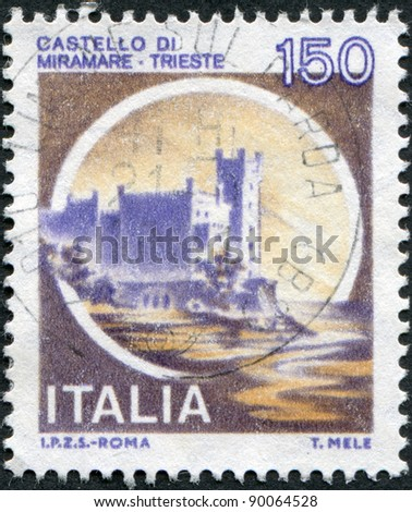 ITALY - CIRCA 1980: A stamp printed in Italy, shows the Miramare Castle, circa 1980 - stock photo