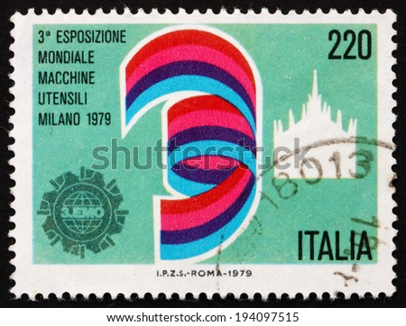 ITALY - CIRCA 1979: a stamp printed in the Italy shows Dome of Milan, Exhibition Emblem, 3rd World Machine Tool Exhibition, Milan, circa 1979 - stock photo