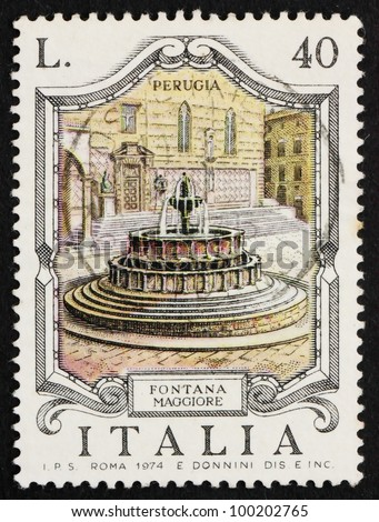 ITALY - CIRCA 1974: a stamp printed in the Italy shows Fontana Maggiore, Perugia, Italy, circa 1974 - stock photo