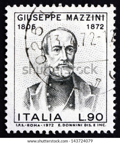 ITALY - CIRCA 1972: a stamp printed in the Italy shows Giuseppe Mazzini, Patriot and Writer, Activist for the Unification of Italy, circa 1972