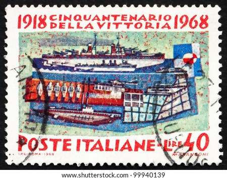 ITALY - CIRCA 1968: a stamp printed in the Italy shows The Navy, 50th Anniversary of the Allies' Victory in WWI, circa 1968