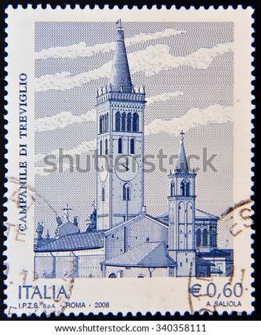 ITALY - CIRCA 2008: A stamp shows tower of San Martino church, Treviglio (Bergamo, Lombardy)