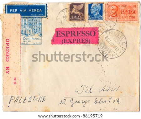 ITALY - CIRCA 1940: An old used Italian envelope issued in honor of the Trieste Hotel Continental and two stamps with portrait of the King of Italy Victor Emmanuel III, series, circa 1940 - stock photo