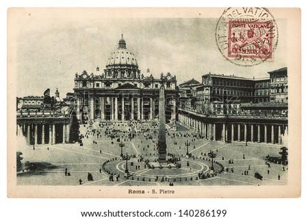 ITALY - CIRCA 1933: Historical postcard with antique stamp from Vatican. Basilica di San Pietro, Vatican, Rome, Italy circa 1933 - stock photo