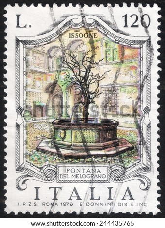 "ITALY - CIRCA 1979: post stamp printed in Italy shows a picture of ""Pomegranate Fountain"" placed in the castle of Issogne-Italy, circa 1979"