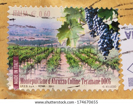 ITALY, CIRCA 2012 - stamp celebrating of the most appreciated Italian grapes, the Montepulciano D'Abruzzo Colline Teramane DOCG, released in Italy in 2012 - stock photo