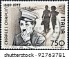 ITALY - CIRCA 1989: Stamp printed by Italy celebrating 100 years from the birth of Charles Chaplin, circa 1989. - stock