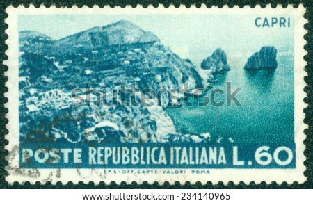 ITALY - CIRCA 1953: stamp printed by Italy , shows Capri, circa 1953 - stock photo