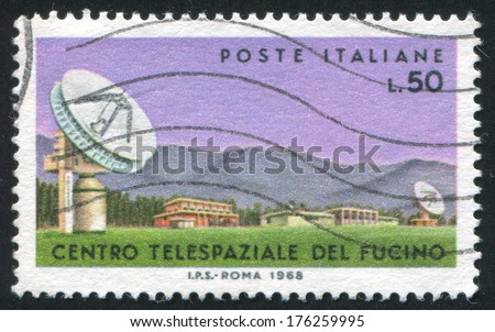 ITALY - CIRCA 1968: stamp printed by Italy, shows Parabolic antenan in Fucino, circa 1968