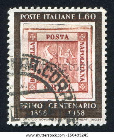 ITALY - CIRCA 1958: stamp printed by Italy, shows Stamp of Naples, circa 1958