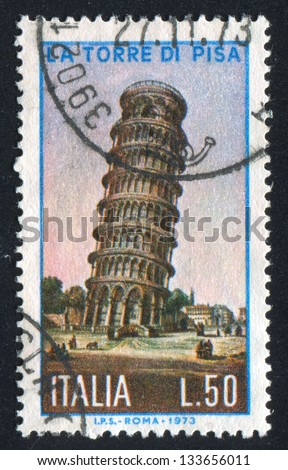 ITALY - CIRCA 1973: stamp printed by Italy, shows Tower of Pisa, circa 1973 - stock photo