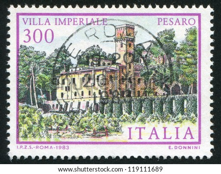 ITALY - CIRCA 1983: stamp printed by Italy, shows Villa Imperiale in Pesaro, circa 1983