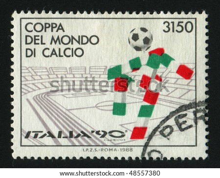 ITALY - CIRCA 1988: stamp printed by Italy, shows 1990 World Cup Soccer Championships, circa 1988. - stock photo