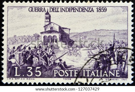 ITALY - CIRCA 1959: stamp printed in Italy shows Battle of San-Fermo, War of Independence, 1859, circa 1959