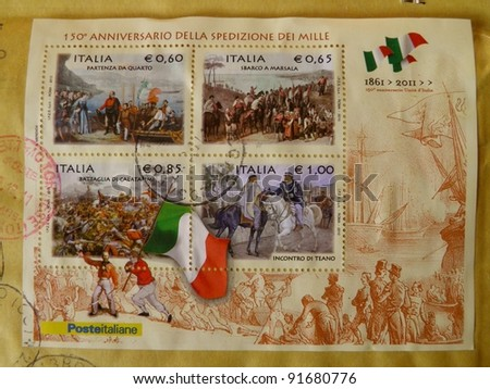 ITALY-CIRCA 2011: 150th anniversary of Italy (1861-2011) is celebrated by depicting some historical facts which lead to political unity on a series of mail stamps in Italy, circa 2011 - stock photo