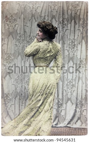 ITALY - CIRCA 1914: Vintage postcard printed in ITALY shows hand painted photograph of famous Italian cinema and theater actress Lyda Borelli. Circa 1914. - stock photo