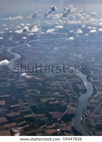 Italy, countryside, Po river, aerial view - stock photo