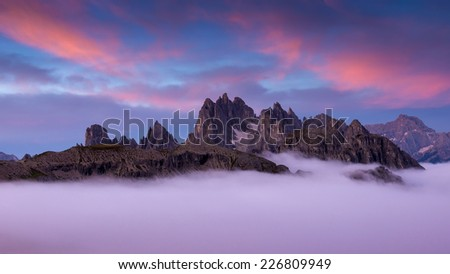 Italy, Dolomites - wonderful scenery, above the clouds  - stock photo