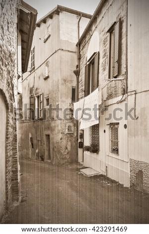 Italy, Europe. Old style, sepia - stock photo
