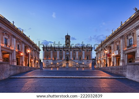 Italy Europe Rome capitoline hill historic palace by michelangelo museum at sunrise - stock photo