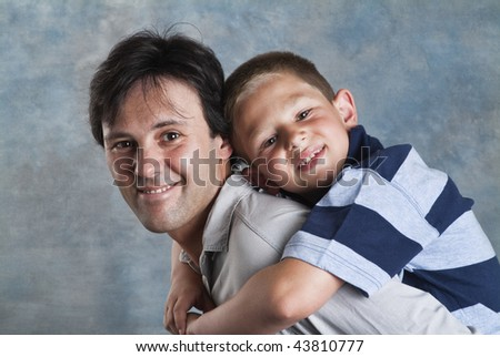 Italy, father and son portrait - stock photo