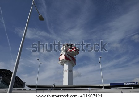 Italy, Fiumicino International Airport; 27 March 2016, flight control tower - EDITORIAL