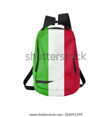 Italy flag backpack isolated on white background. Back to school concept. Education and study abroad. Travel and tourism in Italy - stock photo