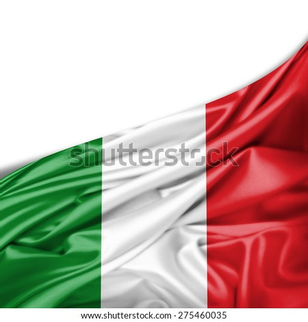 Italy flag of silk and white background - stock photo