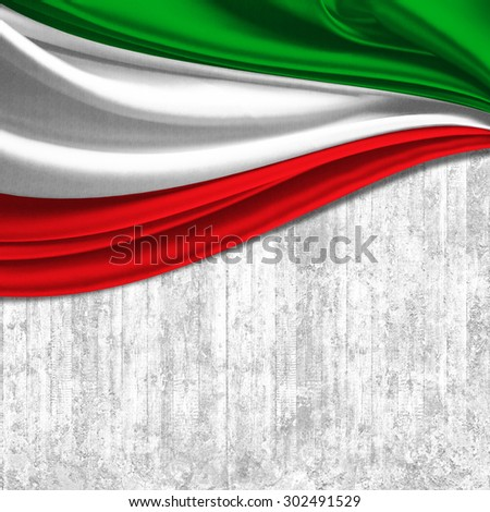 Italy flag of silk with copyspace for your text or images and wall background - stock photo