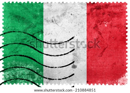 Italy Flag - old postage stamp - stock photo