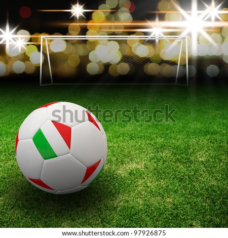 Italy flag on 3d football for Euro 2012 Group C - stock photo