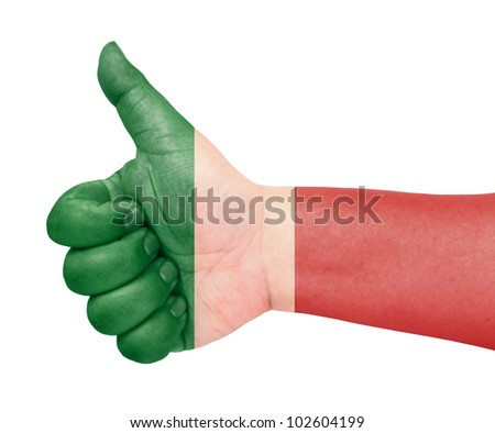 Italy flag on thumb up gesture like icon - stock photo